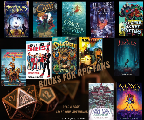 "Text reads ""Books for RPG Fans. Read a book. Start your adventure."" with the covers of the 12 books listed below."